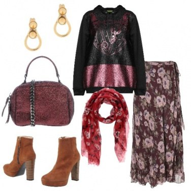 Outfit Felpa trendy gonna in seta