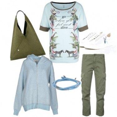 Outfit Verde e celeste