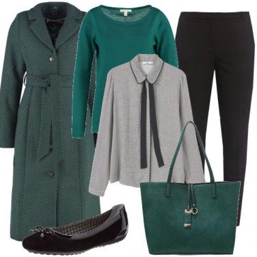 Outfit Bon ton in nero e verde bottiglia