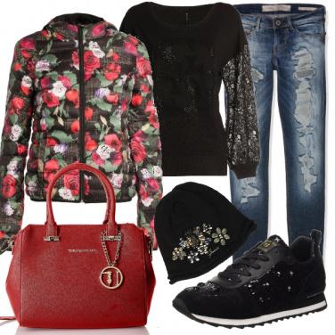 Outfit Il piumino con le rose
