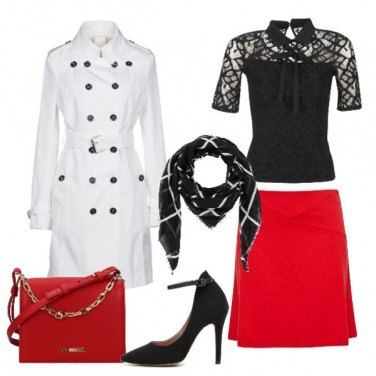 Outfit Trench bianco gonna rossa