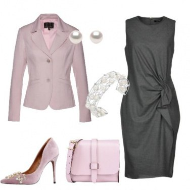 Outfit Vestito piombo giacca rosa