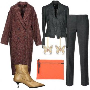 Outfit Oro grigio e arancio