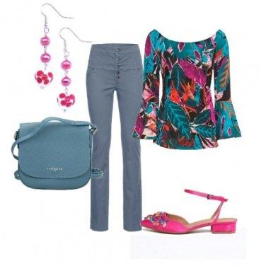 Outfit Trendy con la blusa multicolr