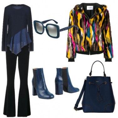Outfit L\'eleganza del nero con il blue