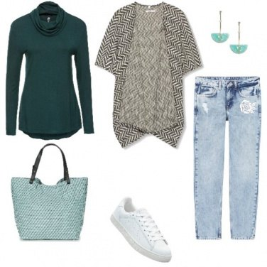 Outfit Poncho + Jeans