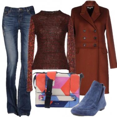 Outfit Calde e colorate in ruggine ed azzurro