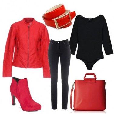 Outfit Rosso più nero