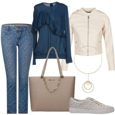 Outfit Jeans a pois