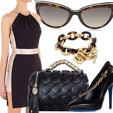 Outfit Nero, oro e tartarugato