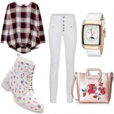 Outfit Quadri e fiori