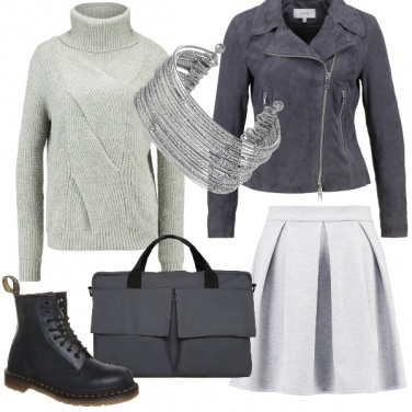 Outfit Studentessa in grigio