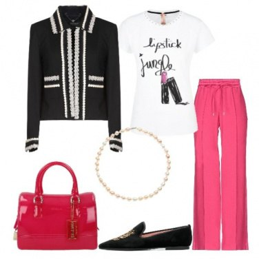 Outfit Giacca nera pantalone fucsia