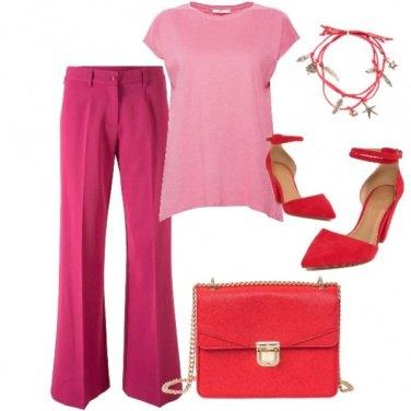 Outfit Fucsia e rosso