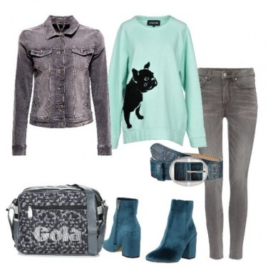 Outfit Felpa con stampa in velluto
