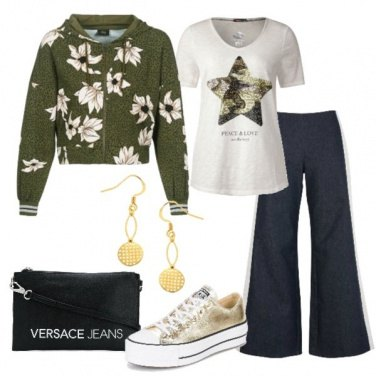 Outfit Jeans con bande laterali felpa corta