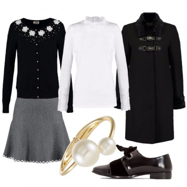 Outfit Rose e perle dettagli bon ton