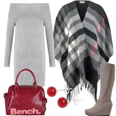 Outfit Grigio ed un pò di rosso