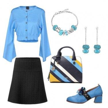 Outfit Nero e azzurro professionale