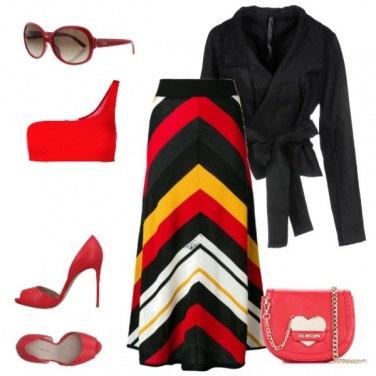 Outfit Gonna lunga fantasia geometrica