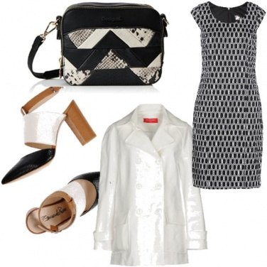 Outfit Bianco e nero animalier