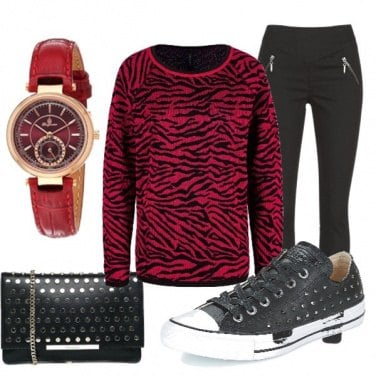 Outfit Black and red in rock style