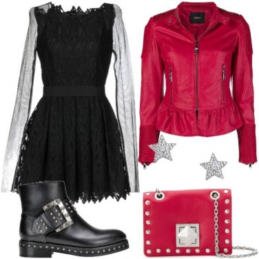Outfit Rock rosso nero