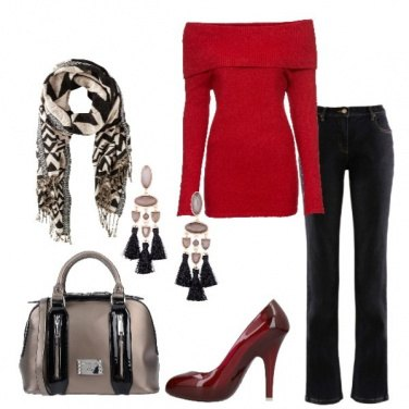 Outfit Jeans nero pullover rosso scuro