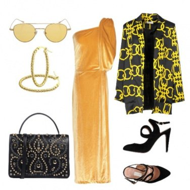 Outfit Lungo giallo oro