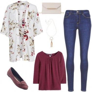 Outfit Blazer floreale & Borgogna