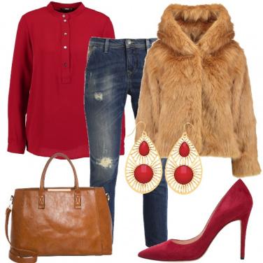 Outfit Pelliccia con cappuccio