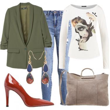 Outfit Verde e mattone