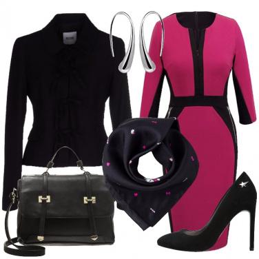 Outfit Fucsia e nero per l\'ufficio