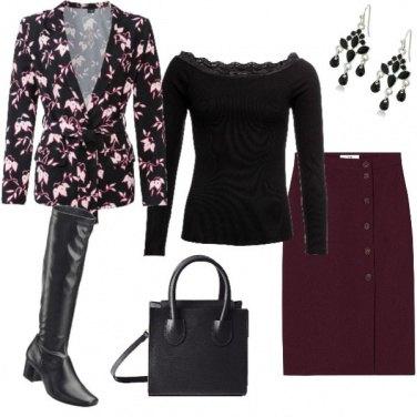 Outfit Nero e prugna