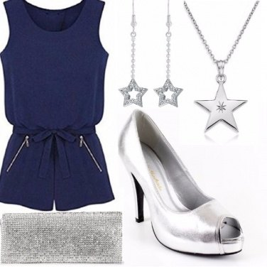 Outfit An evening in blue and silver