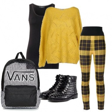 Outfit Giallo grounge