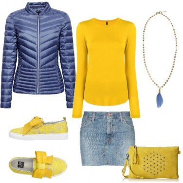 Outfit Gonna jeans e giallo