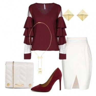 Outfit Bordeaux e avorio