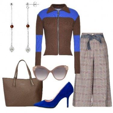 Outfit Pantalone palazzo e cardigan con zip