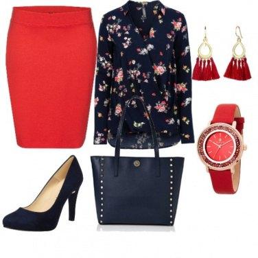 Outfit Sfumature rosse e blu