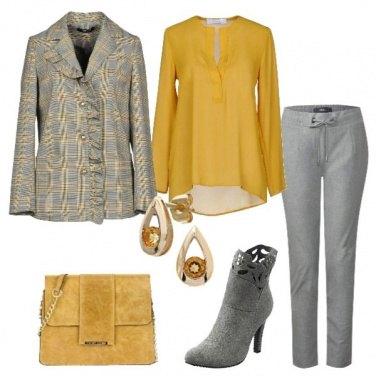 Outfit Giacca Principe di Galles blusa ocra