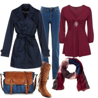 Outfit Trench blu su jeans