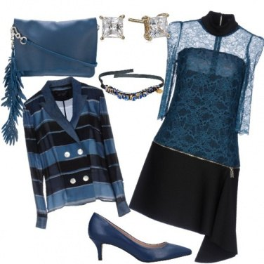 Outfit Corallo blu+jeans+pizzo