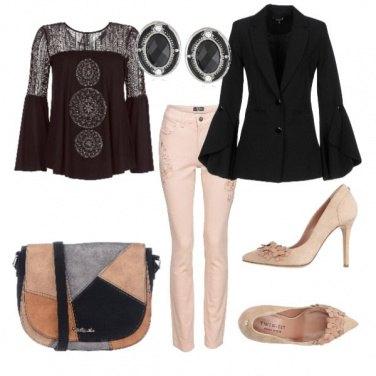 Outfit Nero grigio e beige