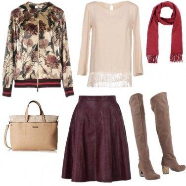 Outfit Bordeaux, Beige e Rosso