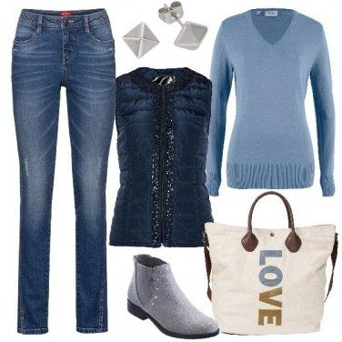 Outfit Gilet trapuntato con paillettes