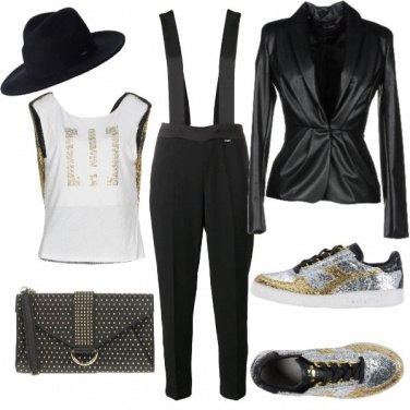 Outfit Sneakers e glitter per un look da sera