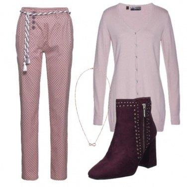 Outfit Rosa e bordeaux