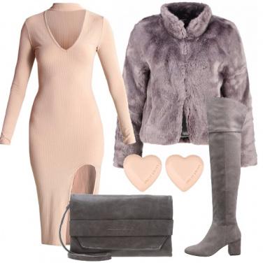 Outfit Pellicciotto e rosa cipria