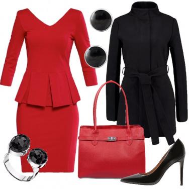 Outfit Festività in rosso e nero